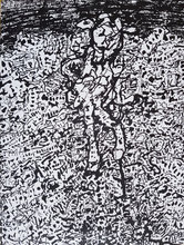 Jean DUBUFFET - Drawing-Watercolor - Personnage dans un paysage, original ink drawing
