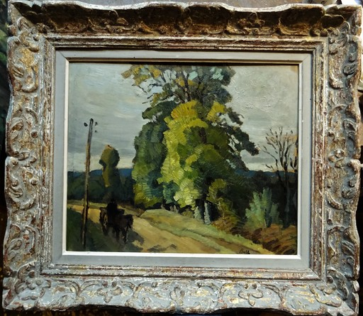Marcel BELLE - Pintura - Charette en Creuse