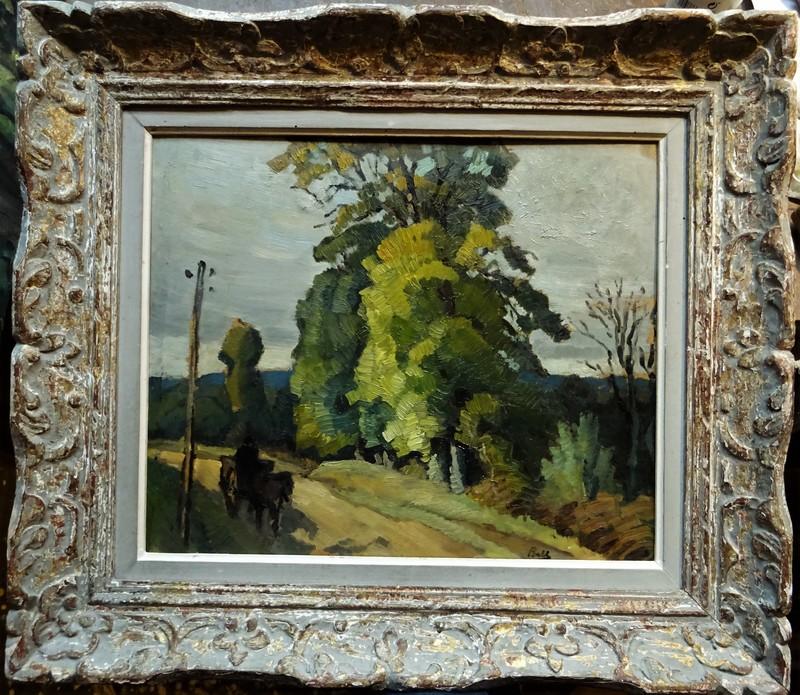 Marcel BELLE - Painting - Charette en Creuse