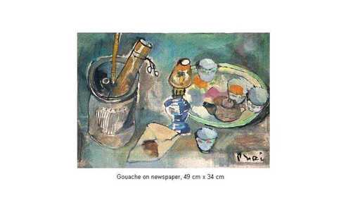 Xuan Phai BUI - Painting - Still Life with Oil Lamp and a Set of Tea Cup 16_13a