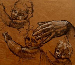 """René Marie CASTAING - Drawing-Watercolor - """"ETUDE POUR LA VIERGE DU PILIER"""""""
