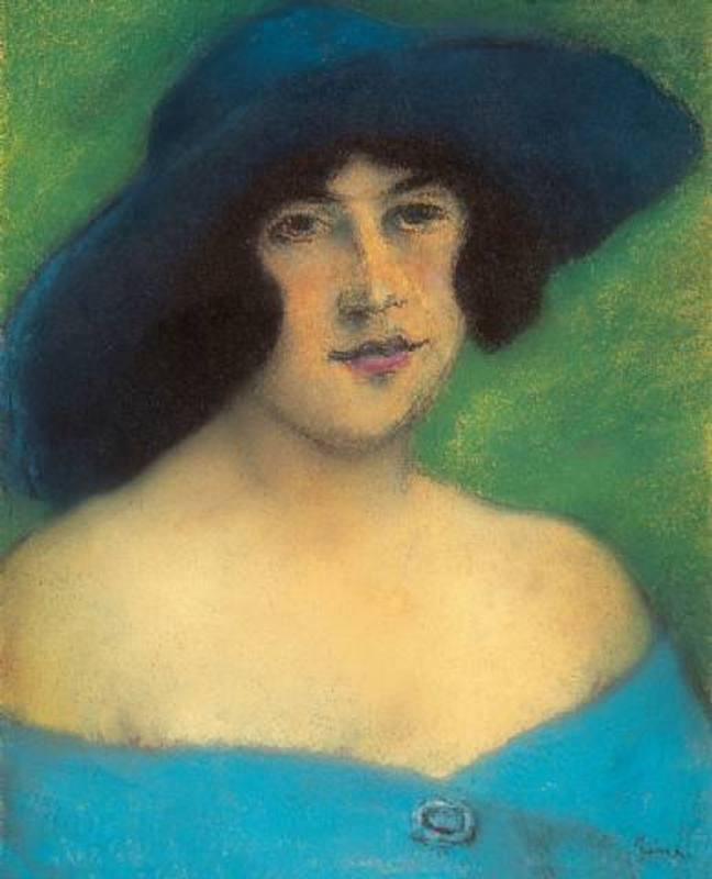 József RIPPL-RÓNAI - Drawing-Watercolor - Portrait of Woman with a Hat