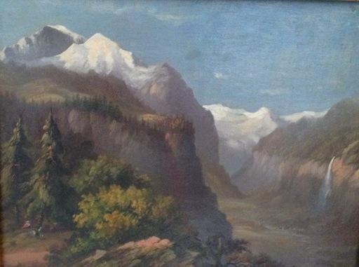 Jean François Xavier ROFFIAEN - Peinture - Le village de Lauterbrünen (Suisse)
