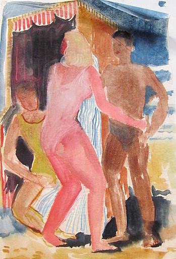 Paul MECHLEN - Drawing-Watercolor - Frau mIt Männern am Strandkorb.