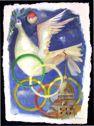 Franco MONTEMAGGIORE - Drawing-Watercolor - I cinque cerchi per Torino