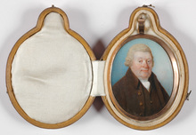 "Horace HONE - Miniatura - ""Portrait of a gentleman"" miniature in travelling case, 1786"