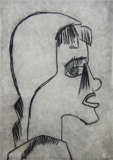 施密特-罗特卢夫 - 版画 - Girl's Head I Mädchenkopf