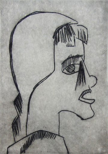 Karl SCHMIDT-ROTTLUFF - Print-Multiple - Girl's Head I Mädchenkopf