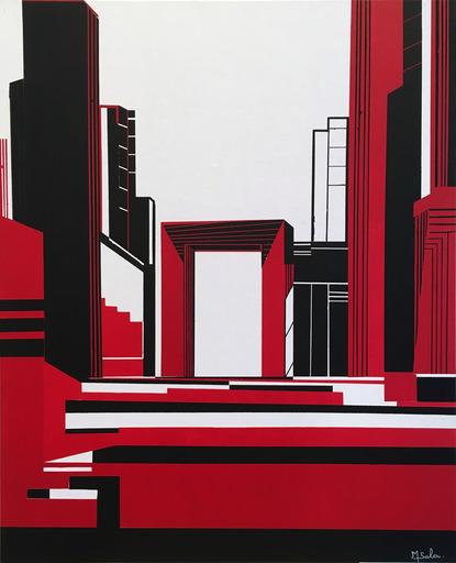 Michèle SALA - Painting - L'arche (Noir)