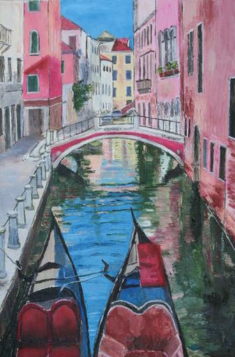 Monique DEVALOIS - Peinture - Venise (Gondoles)
