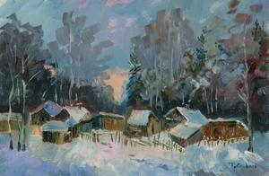 Tatania SOROKINA - Peinture - L'aube en hiver aux environs de Moscou
