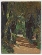 """Josef LACINA - Painting - """"Cemetery in Matzleinsdorf, Lower Austria"""" 1919, oil"""