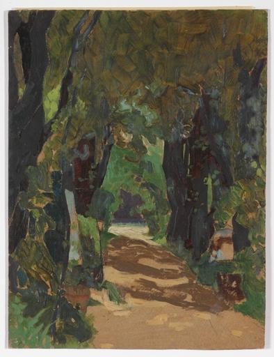 "Josef LACINA - Pintura - ""Cemetery in Matzleinsdorf, Lower Austria"" 1919, oil"
