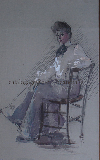 Ulpiano CHECA Y SANZ - Drawing-Watercolor - Demoiselle assise- Paris 1900- Mode
