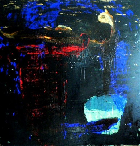 Tony SOULIÉ - Peinture - Blue abstraction Bull's head