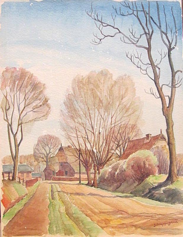 Walter SCHLEPPEGRELL - Drawing-Watercolor - Bauernhäuser unter Bäumen.