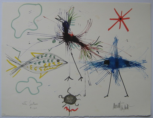 Raymond  MORETTI & Jean  COCTEAU - Stampa Multiplo - LITHOGRAPHIE SIGNÉE NUM/79 SIGNED NUMB/79 LITHOGRAPH