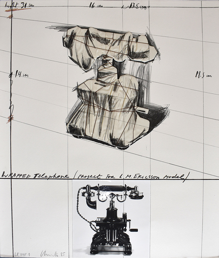 CHRISTO - Stampa-Multiplo - Wrapped Telephone, Project for L. M. Ericsson Model