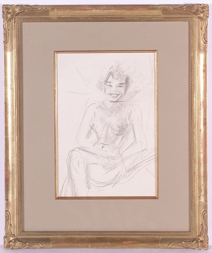 """Frederick SERGER - Drawing-Watercolor - """"Smiling Girl"""" by Frederick Serger, 1950's"""