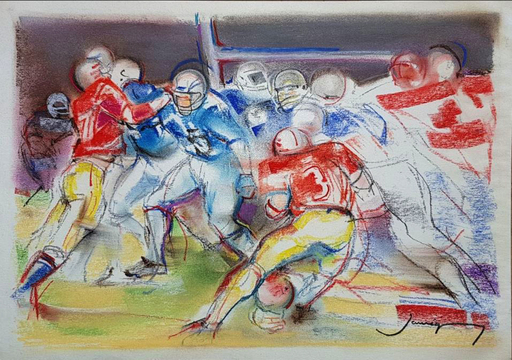 Christian JAUREGUY - Drawing-Watercolor - Football américain