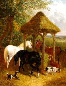 John Frederick II HERRING - Painting - On the Farm