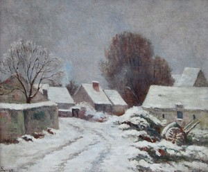 Maximilien LUCE - Painting - Rolleboise, Le Village sous la neige
