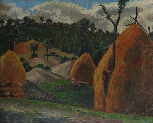 Gerardo DOTTORI - Pittura - Paesaggio con pagliai