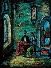 Moshé Elazar CASTEL - Pintura - Shabbat in Safed,circa 1940