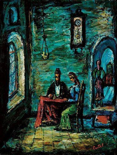 Moshé Elazar CASTEL - Painting - Shabbat in Safed,circa 1940