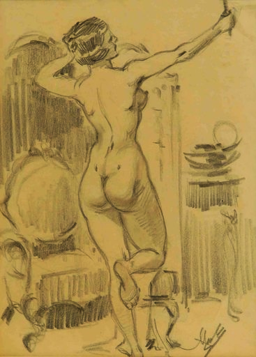 Alexandros ALEXANDRAKIS - Disegno Acquarello - Standing woman with armchair 1940-46