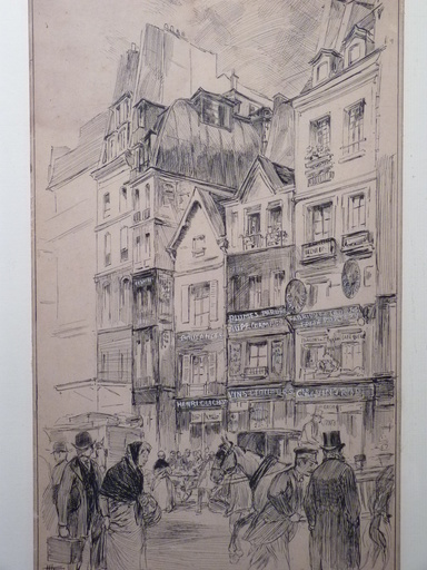 Hermann VOGEL - 水彩作品 - Rue Saint-Denis à Paris