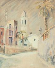 Franz HECKENDORF - Dibujo Acuarela - Mediterrane Stadt mit Palmen