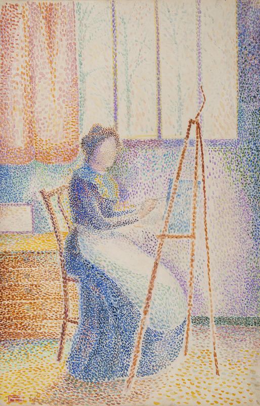 Hippolyte PETITJEAN - Dessin-Aquarelle - La femme de l'artiste à son chevalet