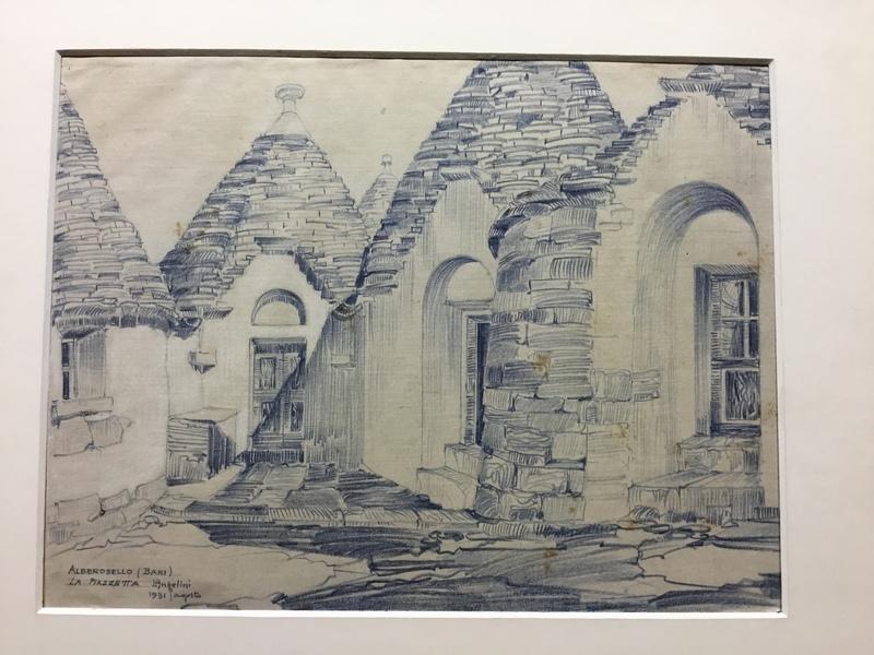 Luigi ANGELINI - Drawing-Watercolor - Alberobello (Bari) LA PIAZZETTA