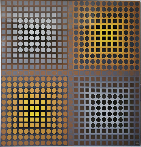 Victor VASARELY - Painting - EG-1-2 Positive Yellow/Grey