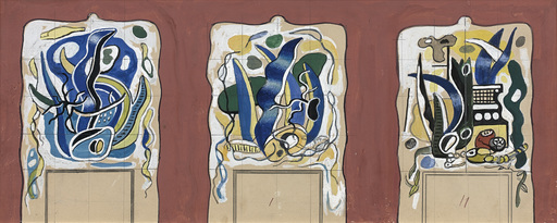 Fernand LÉGER - Disegno Acquarello - Project for a mantelpiece for the Nelsan Rockfeller's house
