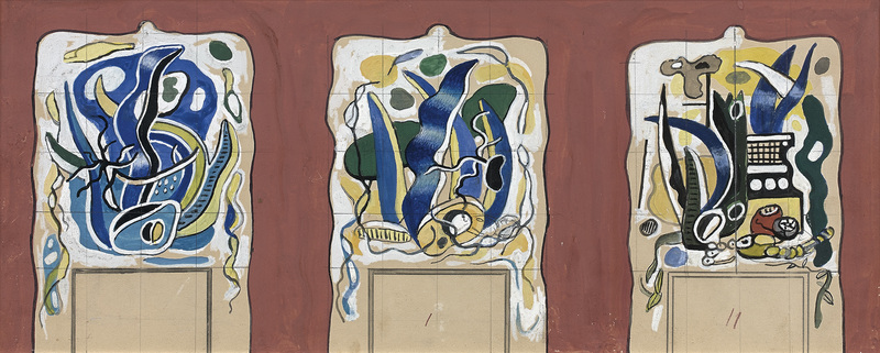 Fernand LÉGER - Drawing-Watercolor - Project for a mantelpiece for the Nelsan Rockfeller's house