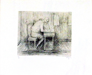 "Henry MOORE, ""Girl Doing Homework"""