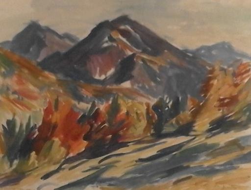 Lisl ENGELS CECH - Dibujo Acuarela - Salzkammergut-Landschaft