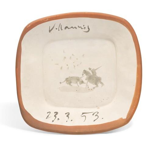 Pablo PICASSO - Ceramic - Ebauche de scène tauromachique en médaillon