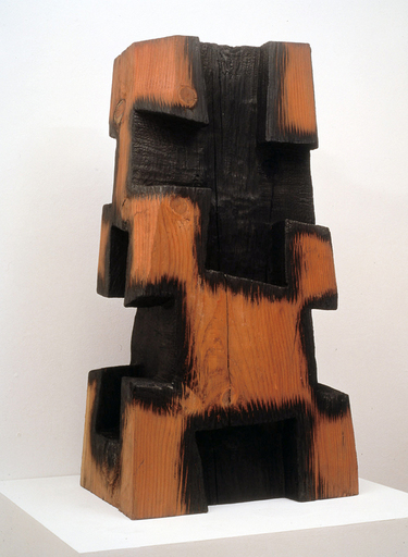 David NASH - Sculpture-Volume - Red and Black Charred Cross Column