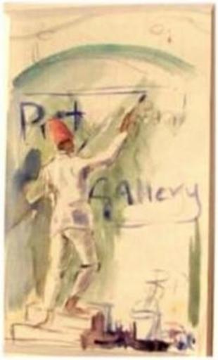 Roy PETLEY - Dibujo Acuarela - L'enseigne