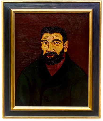 Josef SCHARL - Painting - Mann mit schwarzem Bart