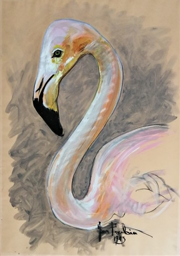 Jean POULAIN - Drawing-Watercolor - Le flamand rose