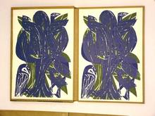 Helmut Andreas Paul GRIESHABER - Grabado - Vogelbaum in Blau