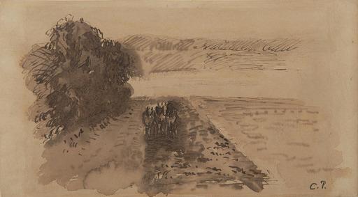 卡米耶•毕沙罗 - 水彩作品 - Terrains labourés près d'Osny