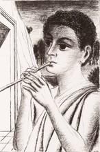 Paul DELVAUX - Grabado - Le joueur de flûte
