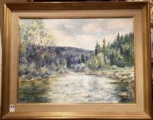 Raymonde AUBRY - Painting - Les bords de l'Ain à Champagnole
