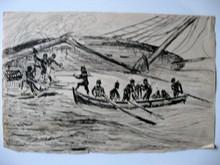 Léon Gabriel COFFINIERES DE NORDECK - Dibujo Acuarela - A l'abordage