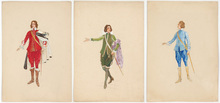 "Rudolf HAFNER - Drawing-Watercolor - ""Three stage costume designs"" watercolors, 1920s"
